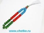 Четки 33 бусин из граненного стекла флаг Азебайджана