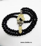 Четки православные 100 бусин из черного агата 6 мм