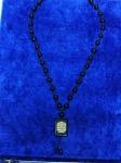 Четки-подвеска на шею из черного агата с надписью аят уль Курси